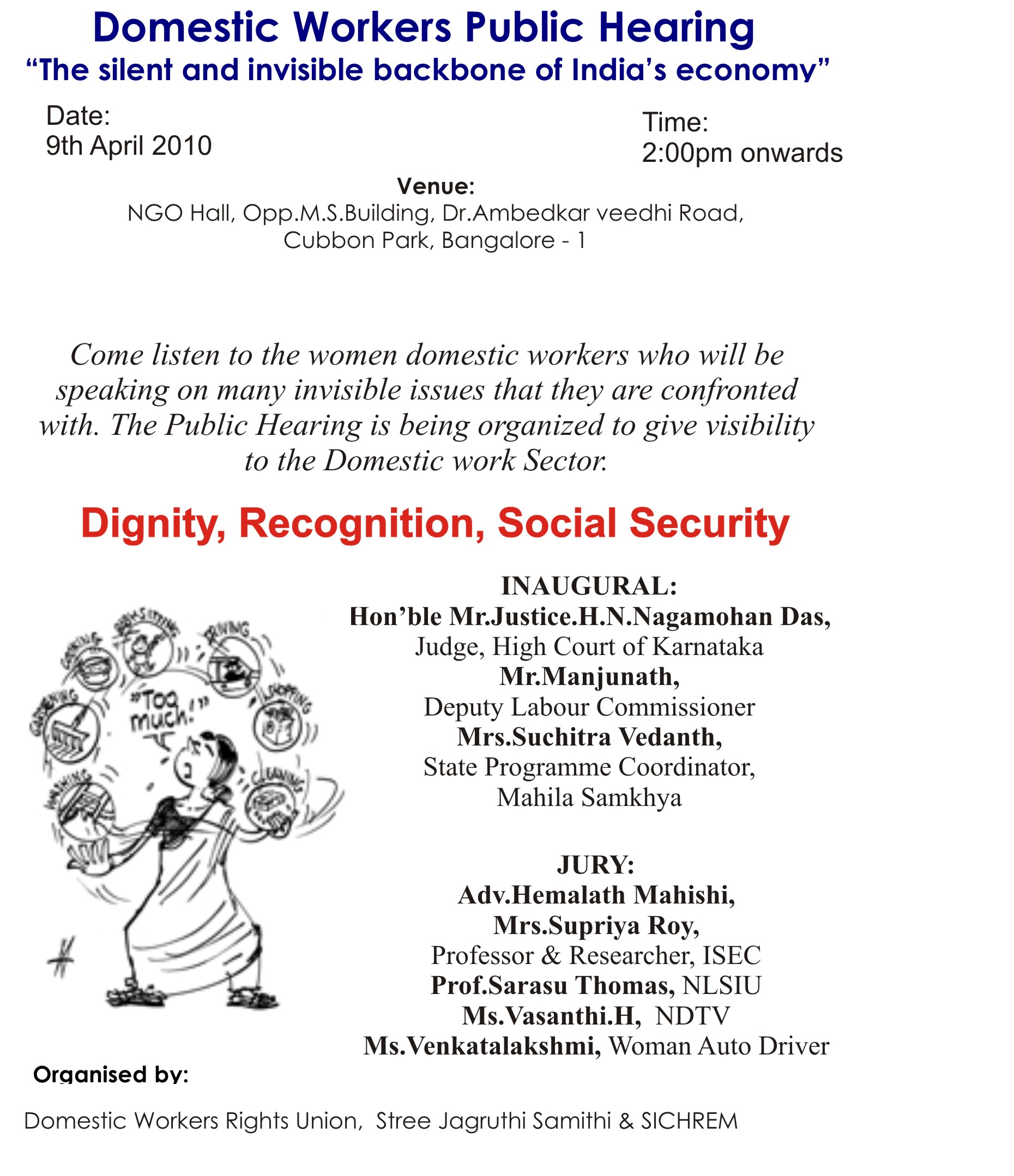 Domestic Workers Public Hearing Friday 9 April SICHREM