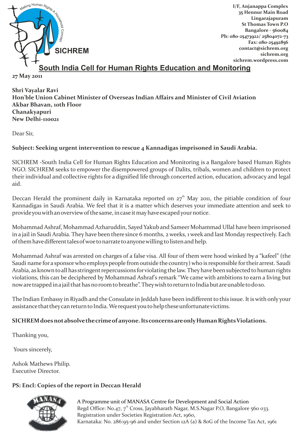letter sent by sichrem to the hon ble union cabinet minister of