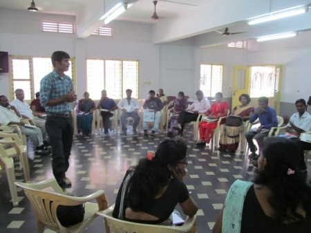 Mr. Gangadhar, Program Coordinator handling session on RTE & State Rules