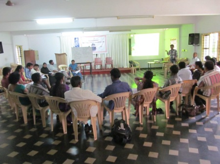 Mr. Suresh, Training Coordinator, Padi handlining session on RTE Act