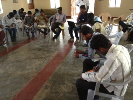 Mr. Gangadhar, Program Coordinator facilitating  discussion on the State Rules of the Act