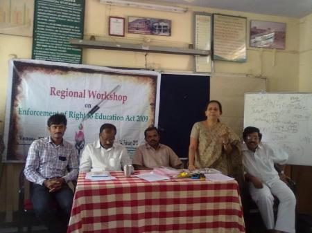 Mr. Gangadhar (Program Coordinator), Mr. I. Srinivasa Rao (Convener, CACL-AP), Mr. Chenna Krishna (MEO, Kadiri), Ms. C. Bhanuja (Director, REDS) and Mr. S S Rayudu (Convener, CACL - Rayalaseema) at the inaugural