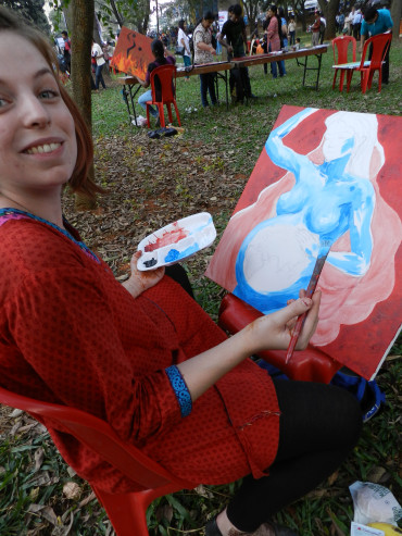 SICHREM's volunteer Abigail Rowlands was one of the artists paiting in public
