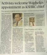 Appointment of Chairperson - KSHRC