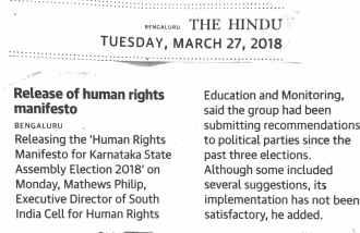 Press Report - The Hindu